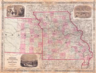 1874, Johnson Map of Missouri and Kansas