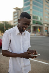 Young man checking phone