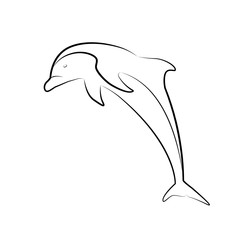 Outline illustration of a jumping dolphin. Line art. The object is separate from the background. Vector element for tattoos, t-shirt printing, logos and your design.