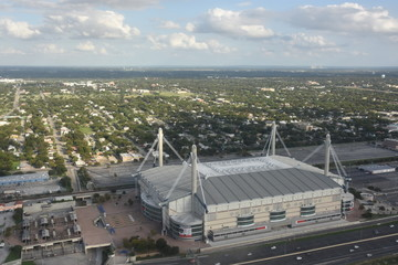 View of Alamodome from Tower of the Americas in San Antonio, Texas