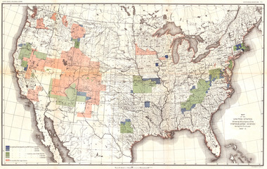 Fototapete - 1888, Topographic Survey Map of the United States