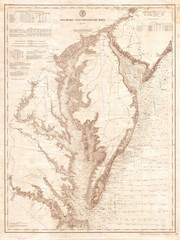 Fototapete - 1893, U.S. Coast Survey Nautical Chart or Map of the Chesapeake Bay and Delaware Bay