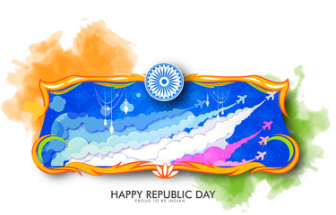 vector illustration  of indian Republic Day India Celebration on 26 January with beautiful calligraphy.