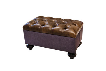 dark brown leather sofa in chester style for elite loft interior isolated white background Fotomurales