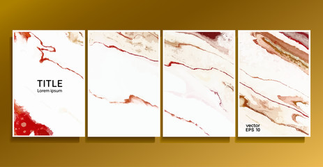 Vector cards. Set of templates sheets. Abstract painted background. Liquid marble texture. Fluid colors backgrounds.