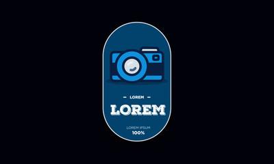 Flat Minimalist badge Sticker Design with Camera Icon Illustration
