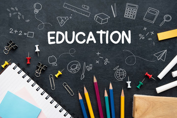 Education background with colorful stationery