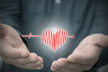 hands with heart and signal of heartbeat, medicine and health