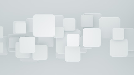 Multilayered white mosaic with squares 3D rendering