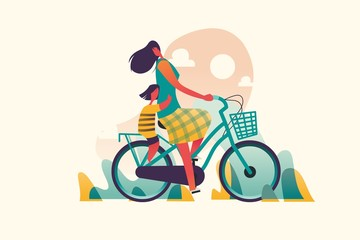 Mom with daughter biking with love. . Mixcolor vector illustration