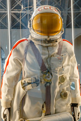 Moscow, Russia - November 28, 2018: Russian astronaut spacesuit in Moscow space museum that was specially developed for early space vehicle missions