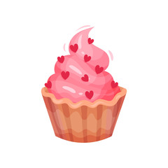 Tasty cupcake with pink cream decorated with hearts. Holiday dessert. Flat vector element for Valentines day postcard