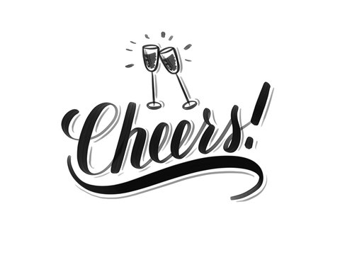 Cheers inscription with hand drawn wine glasses on isolated on white background. Hand lettering for greeting cards design.