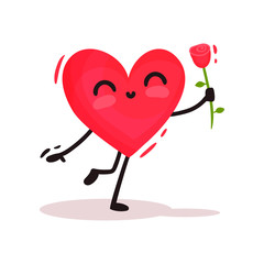 Cute humanized heart holding red rose in hand. Love theme. Cartoon character. Flat vector for Valentines day postcard