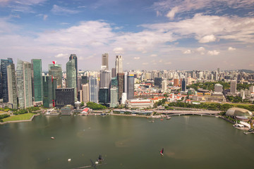 Singapore city skyline, high angle view at Marina Bay business district
