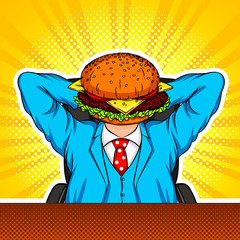 Color vector modern art collage with elements of pop art style. The combination of a burger and an office worker. Conceptual collage in bright colors in the style of the 90s. A man sitts in an office
