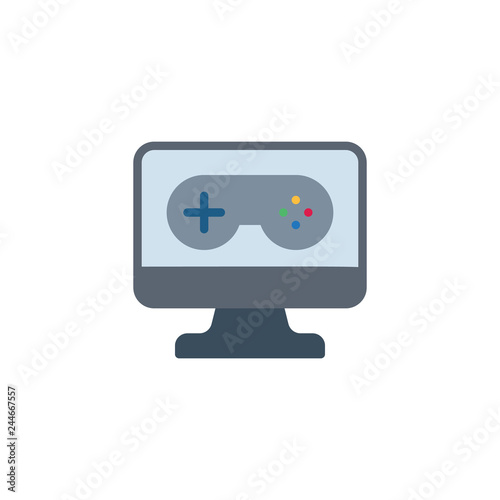 Joystick and monitor flat icon, vector sign, colorful