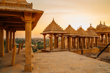 Vyas Chhatri sunset view in Jaisalmer, India Wall mural