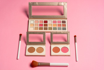 set of professional decorative cosmetics, makeup tools and accessory on pink background. beauty, fashion and shopping concept. flat lay composition.