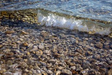 Sea waves, restless sea level, waves breaking on rocks