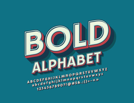 Vector Retro Bold Font. Set of bright 3D Letters, Numbers and Symbols.