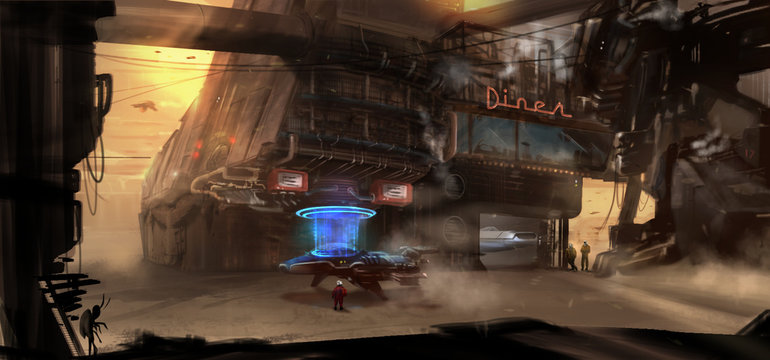 Digital Painting of a Futuristic gas station and diner on an alien planet
