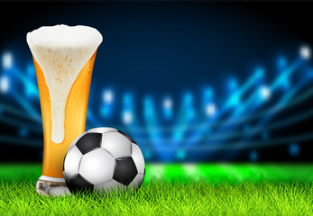 Football arena field with bright stadium lights design. Realistic 3D Soccer ball and Glass of beer on the green grass stadium at night. Soccer sport vector background concept.