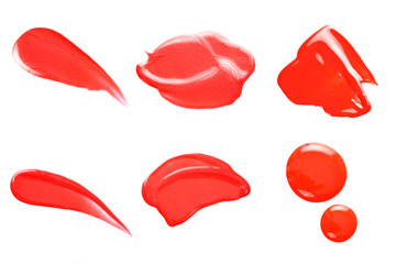 Texture of the Red Lipgloss liquid, white background. Lipgloss Texture Collection.
