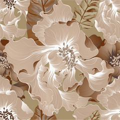 Vector. Fantasy flowers - decorative composition. Flowers with long petals. Wallpaper. Seamless patterns Use printed materials, signs, posters, postcards, packaging, print