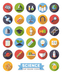 Flat design round science and research vector icons