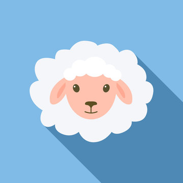 Sheep lying down icon. Flat illustration of sheep lying down vector icon for web design