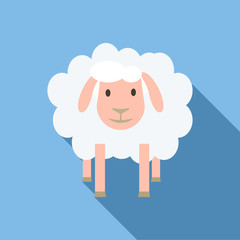 Face of sheep icon. Flat illustration of face of sheep vector icon for web design