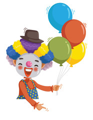 Clown Boy  Pointing Clown boy be smile with balloons pointing with his finger to the blank board over. Cartoon vector illustration isolated on a white background.