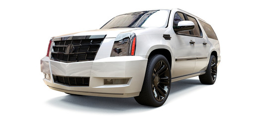 Big white premium SUV on a white background. 3d rendering.