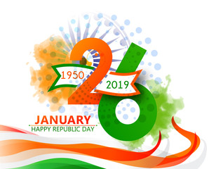 india Republic Day Celebration on January 26 , Indian national day Vector Illustration with beautiful calligraphy.