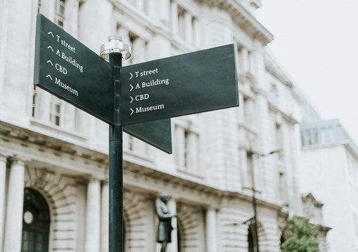 Street post mockup in the city
