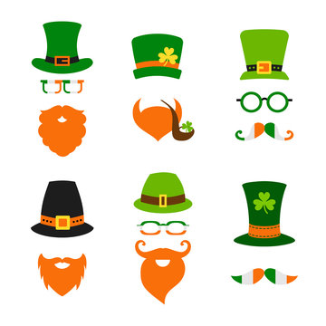 St Saint Patricks Day leprechaun hat beard