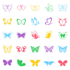 Butterfly icons set on white background for graphic and web design, Modern simple vector sign. Internet concept. Trendy symbol for website design web button or mobile app