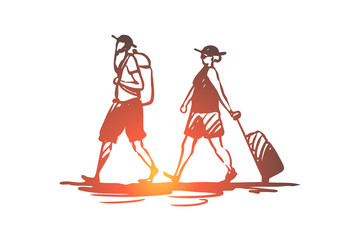 Old, couple, travel, trip, luggage concept. Hand drawn isolated vector.