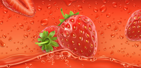 Red drops. Strawberry. 3d realistic vector