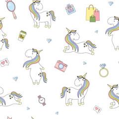 Magic cute unicorn fashion Seamless Vector Pattern. Vector background