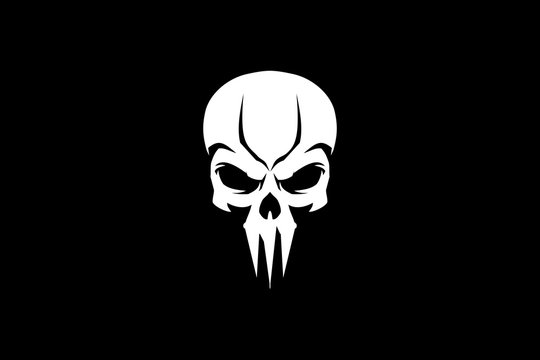 simple skull head vector template