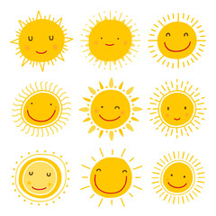 Cute hand drawn sun character vector collection