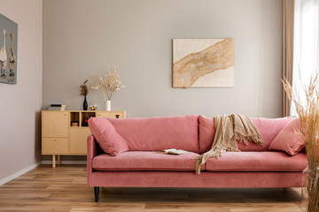 Beige blanket on pink couch in bright living room interior with wooden furniture and rustic pairings on the wall
