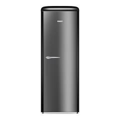 Black home fridge icon. Realistic illustration of black home fridge vector icon for web design isolated on white background