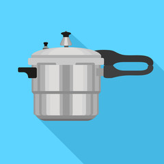 Metal pressure cooker icon. Flat illustration of metal pressure cooker vector icon for web design