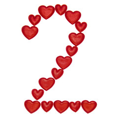 Number 2 collected from decorative red hearts. Isolated on white background. Concepts: digit, symbol, design, title, text, love, figure