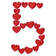 Number 5 made from decorative red hearts. Isolated on white background. Concepts: ABC, alphabet, logo, digit, symbols, love, valentines day