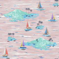 Beautiful seamless island pattern. Summer trends bright seamless colorful island pattern on light pink background. Landscape with palm trees, beach, sailing ship and ocean brush hand drawn style.