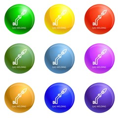 Gas welding icons vector 9 color set isolated on white background for any web design